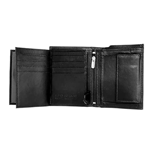 Mens Luxury Leather Trifold Wallet Credit ID Card Coin Holder Wallet Purse UK