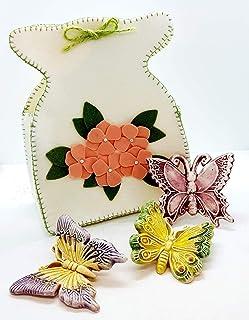 Set di Farfalle Decorate a mano + Sacchetto in feltro artigianale Le Ceramiche del Castello Nina Palomba Made in Italy Dim...