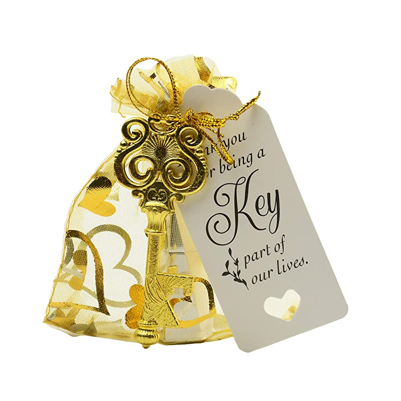 Aokbean 50pcs Owl Shaped Vintage Key Bottle Opener Wedding Favors Souvenir Gift Set Thank You Tags Drawstring Sheer Bags (Gold)