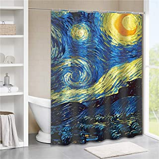 Tititex Starry Night Shower Curtains Bathroom 69 X 70 Inch Van Gogh Stars Art Decorative Waterproof Polyester Shower Curtain with Hooks Blue