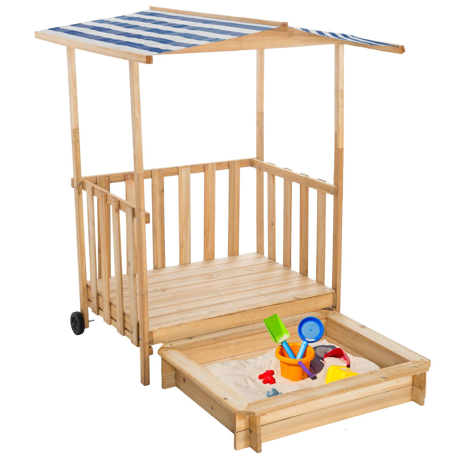 TecTake Arenero con Techo para niños Veranda Madera Protección contra el Sol (Azul | No. 401805): Amazon.es: Juguetes y juegos