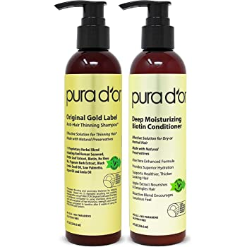 PURA D'OR Biotin Original Gold Label Anti-Thinning (2 x 8oz) Shampoo & Conditioner Set, Clinically Tested Effective Solution w/Herbal Ingredients, All Hair Types, Men & Women (Packaging may vary)