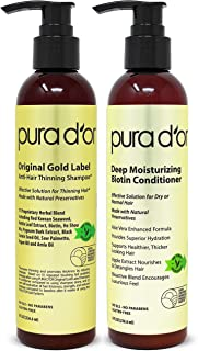 PURA D'OR Biotin Original Gold Label Anti-Thinning (2 x 8oz) Shampoo & Conditioner Set, Clinically Tested Effective Soluti...