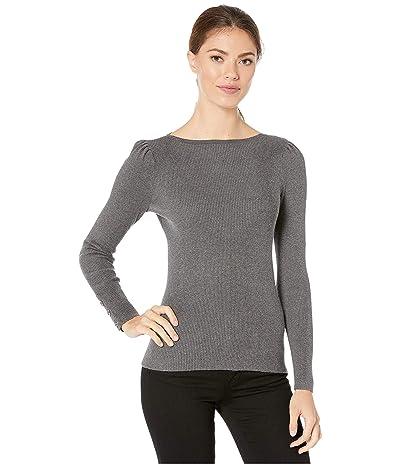 LAUREN Ralph Lauren Puff-Sleeve Boat Neck Sweater (Lexington Grey Heather) Women