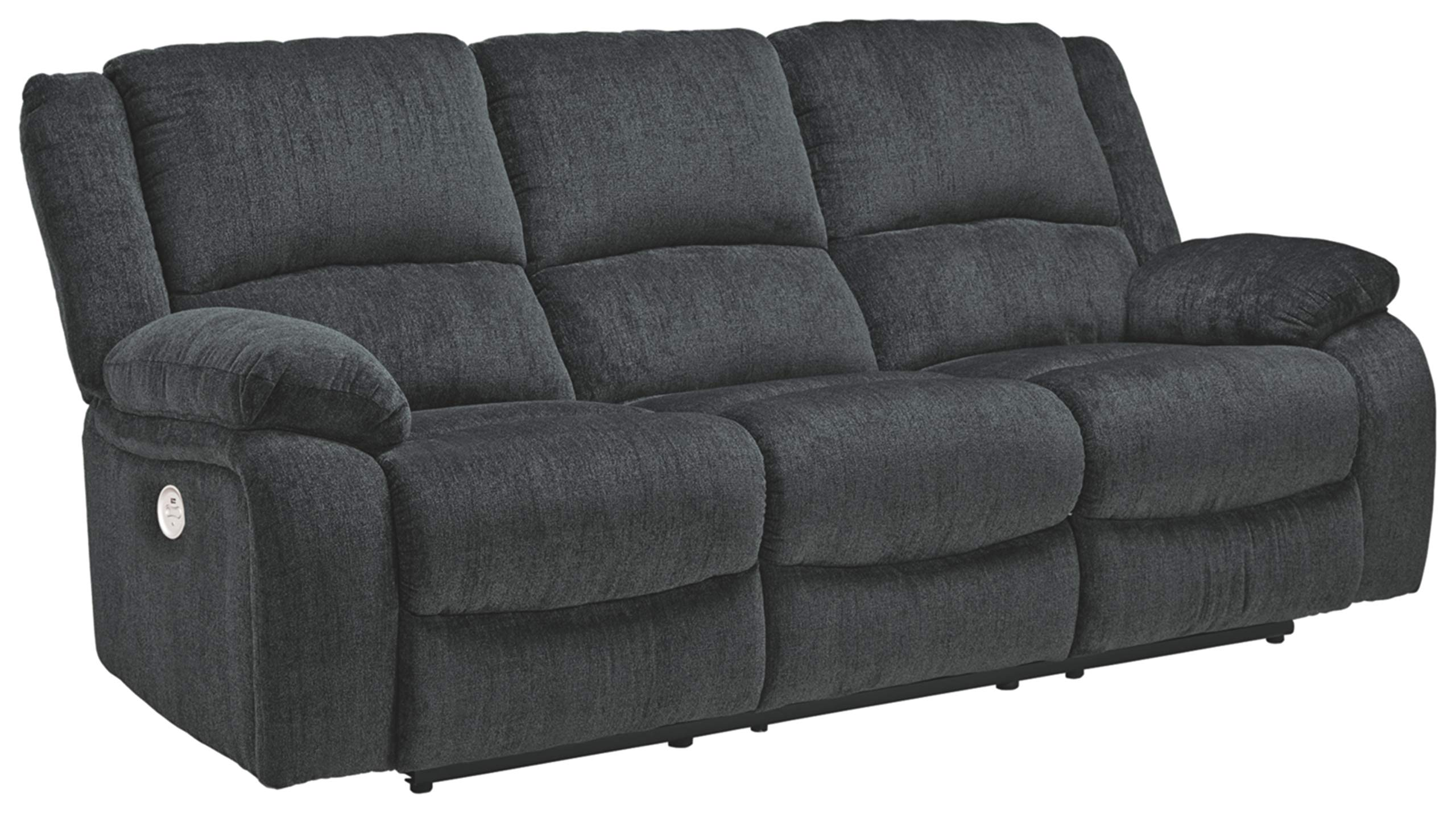 Signature Design by Ashley - Draycoll Contemporary Upholstered Reclining Power Sofa - Adjustable - Dark Gray