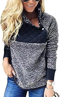 Women Fleece Pullover Sweatshirt Oblique Button Neck Long Sleeve Warm Casual Coat Outwear(S-XXL)
