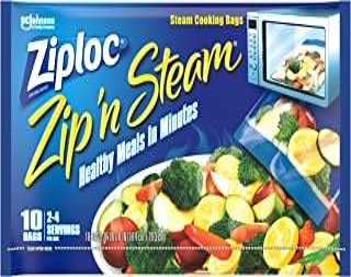 Ziploc Zip 'n Steam Meal Prep Bags, For Cooking and Steaming Food, Microwave Safe, Medium, 10 Count