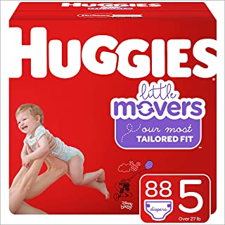 Huggies Little Movers Baby Diapers, Size 5, 88 Ct
