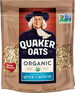 Sponsored Ad - Quaker Quick 1-Minute Oats, USDA Organic, Non GMO Project Verified, 24oz Resealable Bags (Pack of 4)