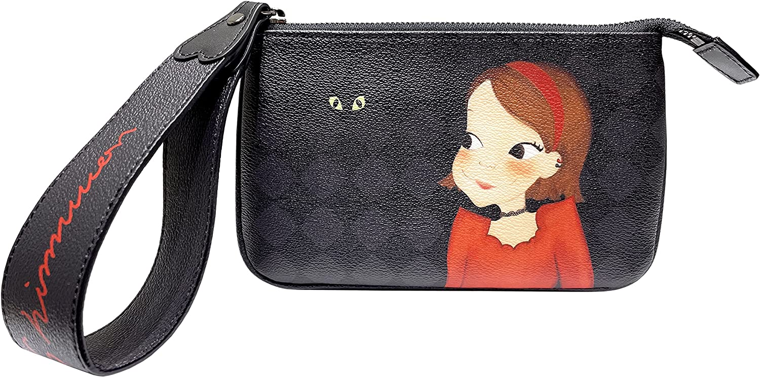 YOUKSHIMWON Strap Wristlet Wallet for Women Small Leather Phone Clutch Pink Luna (Black Ria)
