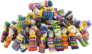 NOVICA Decorative Colorful Miniature Collectible Doll Cotton Figurines, Traditional Worry Dolls from Guatemala, 'The Worry Doll Clan' (set of 100)