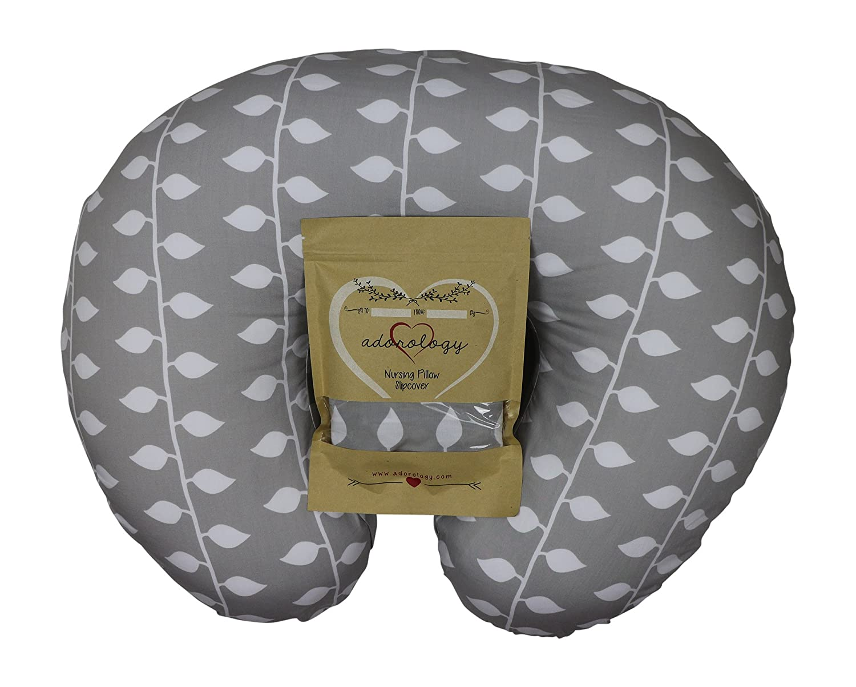Organic Nursing Pillow Slipcover Gray Ivy Design Maternity Breastfeeding Newborn Infant Feeding Cushion Cover Case for New Moms