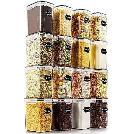 Wildone Lot de 16 boîtes de conservation hermétiques pour aliments secs et céréales 1,6 L, pour sucre, farine et ingrédients de pâtisserie, anti-fuite et sans BPA, 20 étiquettes et 1 marqueur inclus