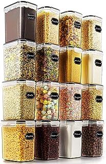Wildone Lot de 16 boîtes de conservation hermétiques pour aliments secs et céréales 1,6 L, pour sucre, farine et ingrédien...