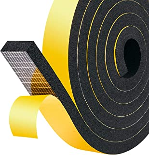 fowong Adhesive Foam Tape, 1 Inch Wide X 3/8 Inch Thick Rubber Seal Strip Window Insulation Soundproof Tape High Density Neoprene Weather Stripping (2 Rolls with Total 13 Feet Long)