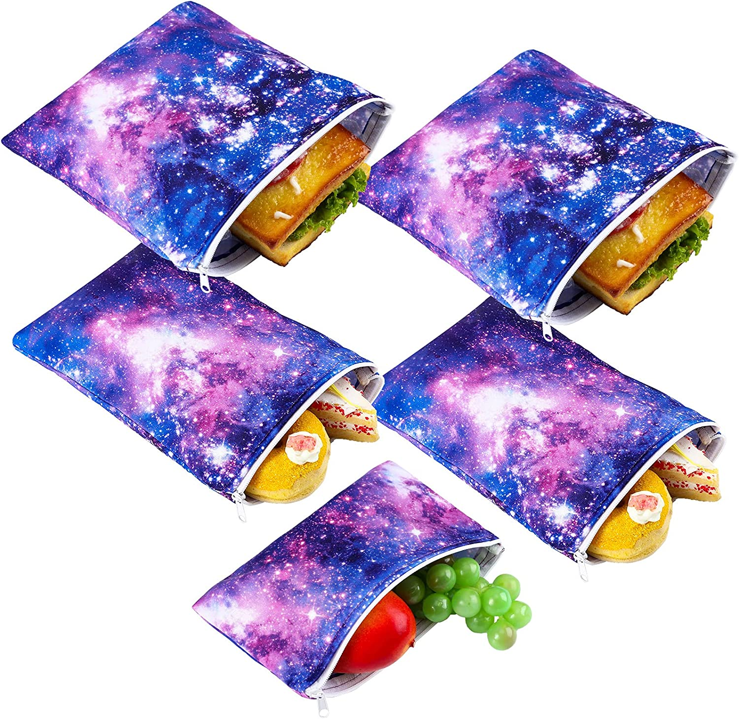 5 Pieces Reusable Sandwich and Snack Bags Safe, Snack Bags with Zipper for Store Preserves, Snacks and Sandwiches, with 2 Large 2 Medium and 1 Small Bags (Galaxy Loop Pattern)