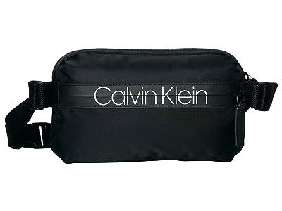Calvin Klein Nylon Belt Bag w/ Printed Logo on Zipper (Black) Handbags