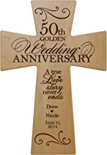 LifeSong Milestones Personalized 50th Wedding Anniversary Maple Wood Wall Cross Gift for Couple, 50 Year for Her, Fiftieth Wedding for Him (7x11)