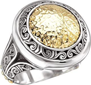 925 Silver Hammered Circle Ring with 18k Gold Accents- Sizes 7-8
