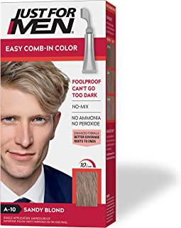 Just For Men Easy Comb-In Color (Formerly Autostop), Gray Hair Coloring for Men with Comb Applicator - Sandy Blond, A-10 (Packaging May Vary)