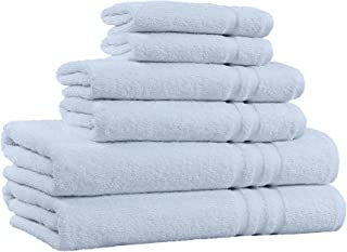 100% Cotton 6-Piece Towel Set - 2 Bath Towels, 2 Hand Towels, and 2 Washcloths - Super Soft Hotel Quality, High Absorbent Quick Dry Towel, and Fade-Resistant - 650 GSM - Made in India (Sky Blue)
