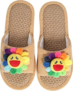 Bobbyli Women's Linen Slippers for Summer Home Indoor, Ladies' Memory Foam Open Toe Slide Sandal with Non Slip Sole (6.5-7.5)