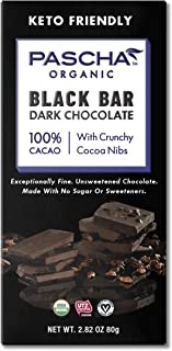 Pascha Black bar: Organic Sugar-Free Dark Chocolate 100% Cacao With Cocoa Nibs, 2.82 Oz (Pack Of 10)