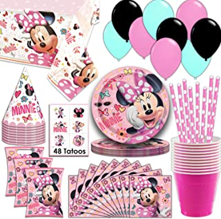 Minnie Mouse Party Supplies, Serves 16 - Plates, Napkins, Tablecloth, Cups, Straws, Balloons, Loot Bags, Tattoos, Birthday Hats - Full Tableware, Decorations, Favors for