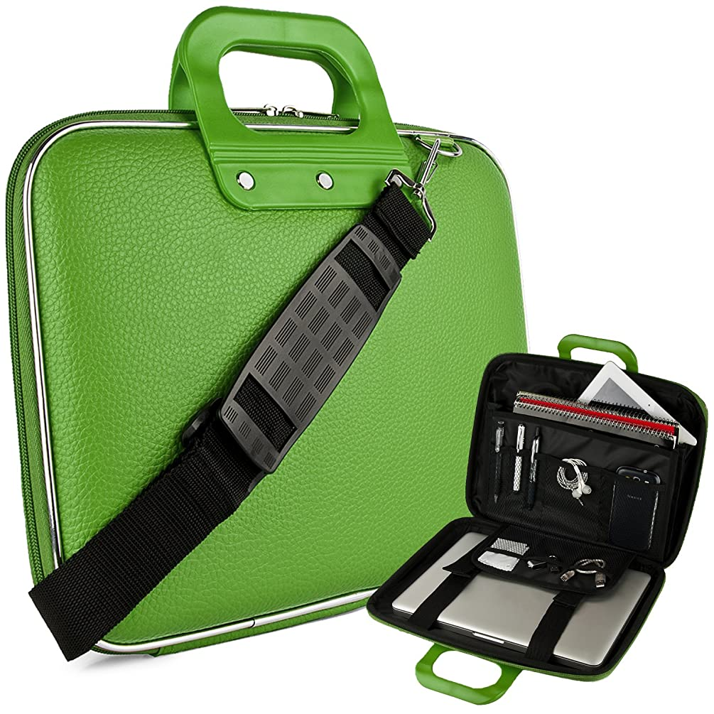 Vegan Leather Caddy Cube Carrying Green Shoulder Bag w/Handles For Dell Inspiron/XPS/Alienware/14-15.6
