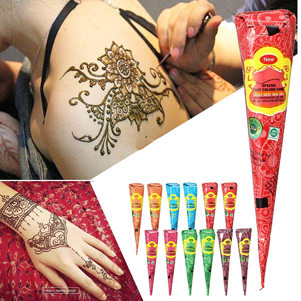 12Pcs Temporary Tattoo Kit, Temporary Art Tattoos India Painting Tattoo Paste Cone 6 Color X2 (2 pcs each color) Brown, Orange, Green, Red, Rose Red, Blue ncevtfhi015