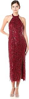 Adrianna Papell Womens AP1E206152 Beaded Halter Ballet Dress Sleeveless Formal Night Out Dress - red