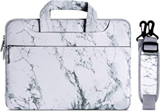MOSISO Laptop Shoulder Bag Compatible 15 Inch New MacBook Pro with Touch Bar A1990 & A1707 2018 2017 2016, Also Compatible 14 Inch Notebook, Canvas Marble Pattern Briefcase Sleeve Case Cover, White