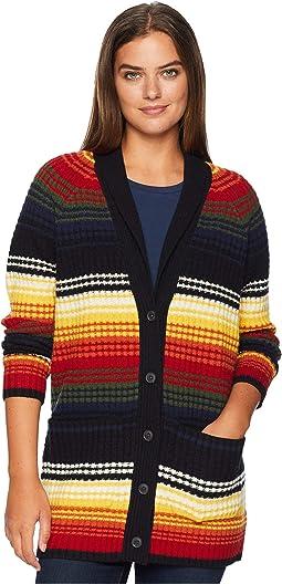 Striped Waffle Knit Cardigan