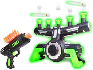USA Toyz Astroshot Zero GX Glow in The Dark Shooting Games – Target Practice Toys, Space Guns for Boys, Compatible with Nerf Toys (Black and Green)