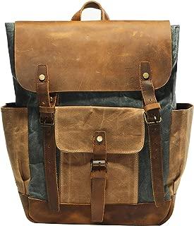 Vintage Waterproof Waxed Canvas Leather laptop computer Backpack College School Bookbag Travel Rucksack 15.6'' -Lake green