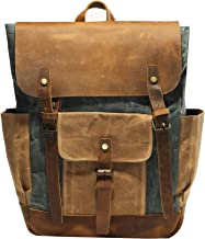 Vintage Waterproof Waxed Canvas Leather laptop computer Backpack College School Bookbag Travel Rucksack 15.6'' -Lake green