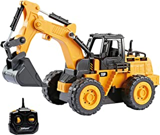 Top Race 5 Channel Fully Functional Remote Control Construction Truck Kids Size Designed for Small Hands (Excavator)