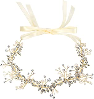 BriLove Wedding Bridal Hair Accessories for Women Bohemian Boho Headband Ivory Color Simulated Pearl Crystal Handmade Head...
