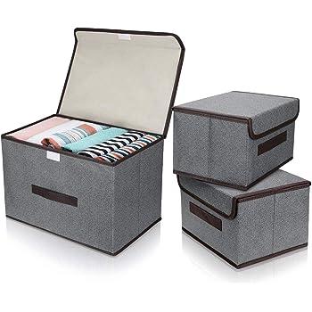 E-MANIS Cajas de almacenaje,Cajas de Almacenamiento con Tapas,Set de 3 Organizadores de Juguetes,Ropa y Libros para Dormitorios y Estanterías (Gris): Amazon.es: Hogar