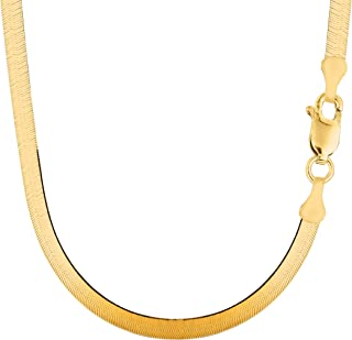 14k Yellow Solid Gold Imperial Herringbone Chain Necklace, 6.0mm