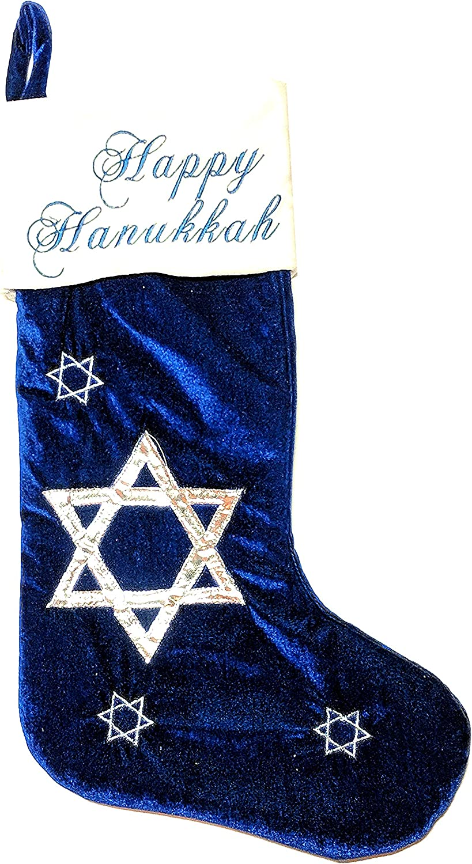 Nantucket Home Happy Hanukkah Stocking Blue E List price Velvet Luxury goods with –