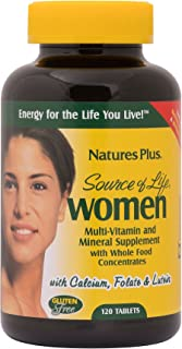 NaturesPlus Source of Life Women Multivitamin - 120 Vegetarian Tablets - Whole Foods, Enzymes & Minerals - Overall Health,...