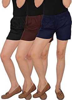 CULTURE THE DIGNITY Women's Mid-Thigh Length Solid Rayon Shorts with Side Pockets Combo of 3 - Pack of 3 - Free Size - C_RSHT_A3_1