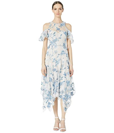 Marchesa Notte Cold Shoulder Corded Lace Embroidered Tulle Tea Length Dress (Ivory) Women
