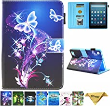 Kindle fire 7 Case - JZCreater Slim Leather Smart Case Cover with Auto Wake/Sleep for All-New Amazon Fire 7 Tablet (7inch Display 5th Generation 2015 & 7th Generation 2017), Purple Butterfly
