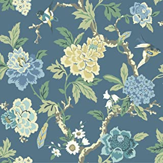 York Wallcoverings Waverly Candid Moment Removable Wallpaper, Blues