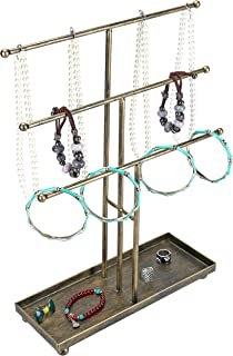 MyGift 3 Tier Metal Rod Jewelry Organizer and Display Stand with Antique Matte Brass Finish