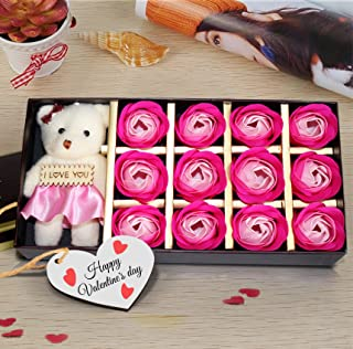 TiedRibbons Scented Rose Petals with Teddy - Romantic Gift for Him or Her - Birthday for Wife Husband Girlfriend Boyfriend