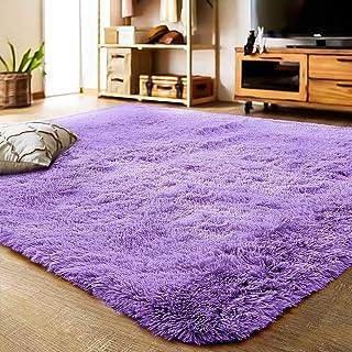 YJ.GWL 洗えるラグ 2畳カーペット 紫ラグマット 12色選べる 120*160cm 絨毯滑り止め付き ふわふわ 長方形 夏 シャギーラグ パープル