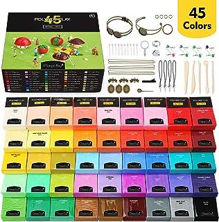 Magicfly Polymeer klei, 45 kleuren, polymeer klei, oven, bakken knutselset met 5 modelleergereedschappen en 40 sieradenacc...